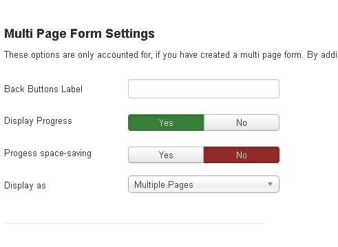 Form Options - Multi Page forms