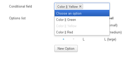 Conditional options selected
